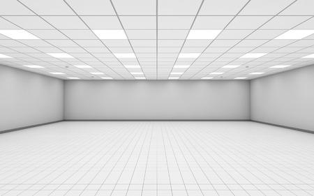 suelos: Interior de la sala de oficina vac�a de ancho abstracto con paredes blancas, iluminaci�n de techo y piso de baldosas, ilustraci�n 3d Foto de archivo