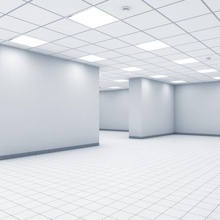 Open ruimte achtergrond, abstract lege kantoor interieur met witte muren, verlichting en vloertegels, 3d illustratie Stockfoto