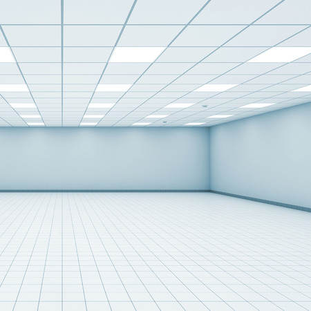 Abstract empty office room interior with light blue walls, ceiling illumination and floor tiling, 3d illustration 版權商用圖片