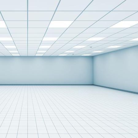 Abstract empty office room interior with light blue walls, ceiling illumination and floor tiling, 3d illustration Reklamní fotografie