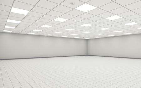 白い壁、天井の照明と床のタイルと抽象的な広い空のオフィス ルームのインテリア。3 d イラストレーション
