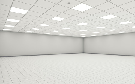 Abstract wide empty office room interior with white walls, ceiling illumination and floor tiling. 3d illustration 스톡 콘텐츠