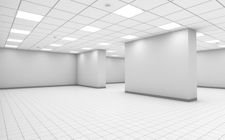 Abstract white empty office room interior with column, ceiling lights and floor tiling, 3d illustration