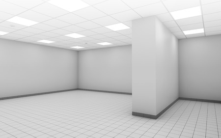 empty office: Abstract white empty office room interior with square ceiling lights and floor tiling, 3d illustration Stock Photo