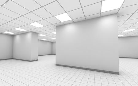Blanco vacío interior de la oficina abstracto con columnas, lámparas de techo y piso de baldosas, ilustración 3d