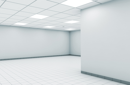 floor lamp: Abstract empty office room interior with white walls, square ceiling lights and floor tiling, 3d illustration Stock Photo