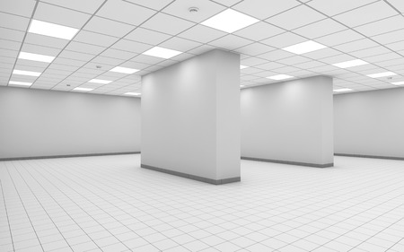 tiling: Abstract white empty office room interior with columns, square ceiling lights and floor tiling, 3d illustration