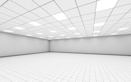 흰 벽, 천장 조명 및 바닥 타일, 3D 그림 추상 넓은 빈 사무실 룸 인테리어