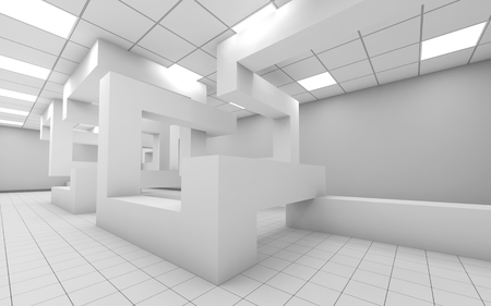 empty office: Abstract white empty office room interior with chaotic geometric construction, 3d render illustration