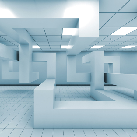 interior: Abstract blue empty office room interior with chaotic geometric installation, 3d illustration Stock Photo