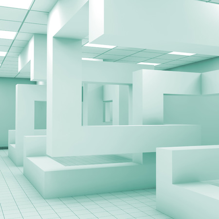 installation: Abstract blue empty office room interior with chaotic shaped geometric installation, 3d illustration