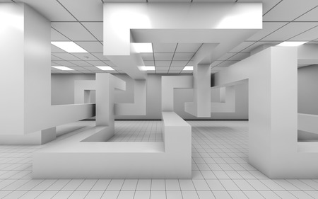 installation: Abstract white empty office room interior with chaotic geometric installation, 3d illustration