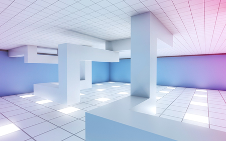 Abstract white empty room interior with chaotic geometric installation and colorful illumination, 3d illustration