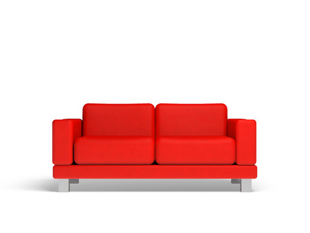Red sofa isolated on white empty interior background, 3d illustration, front view Stock Photo