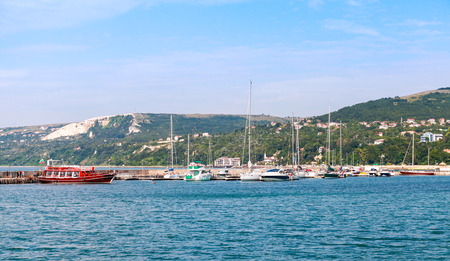 balchik: Balchik resort town marina. Moored yachts and pleasure boats. Coast of the Black Sea, Varna region, Bulgaria Stock Photo