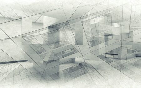 chaotic: Abstract architecture background, chaotic interior with wire-frame lines, 3d illustration