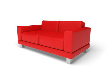 Red sofa isolated on white empty floor background, 3d illustration, perspective view Standard-Bild