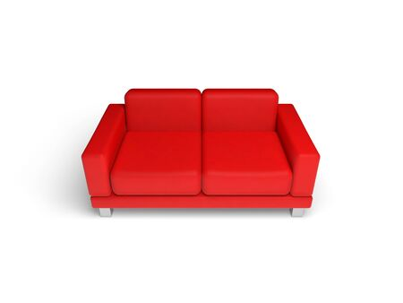 red sofa: Red sofa isolated on white empty interior background, 3d illustration