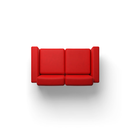 Red sofa isolated on white empty floor background, 3d illustration, top view