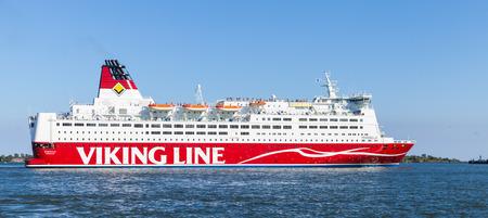 ms: Helsinki, Finland - June 13, 2015: The Finnish Ferry Viking Line MS Mariella goes out of Helsinki passenger port