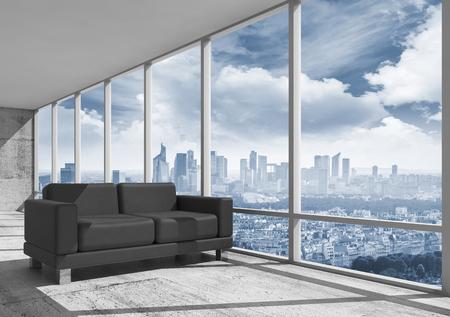 Abstracte interieur, kantoor ruimte met betonnen vloer, raam en zwart lederen sofa, 3d illustratie met grote stad landschap op de achtergrond