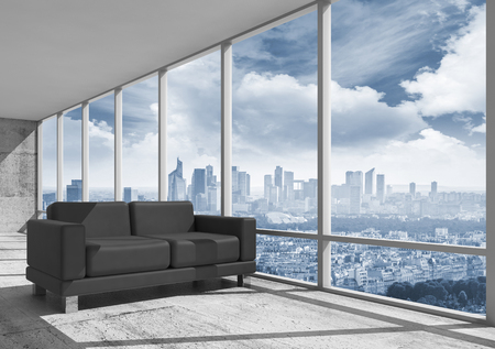 Abstract interior, office room with concrete floor, window and black leather sofa, 3d illustration with big city landscape on a background
