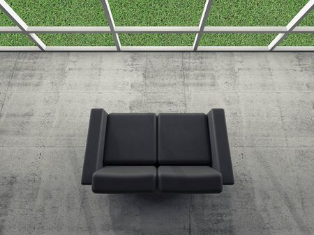 lawn furniture: Abstract interior, concrete room with window and black leather sofa, green grass grow outside, 3d illustration