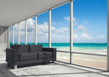 luxury condo: Abstract interior, office room with concrete floor, window and black leather sofa, 3d illustration with ocean coastal landscape on a background
