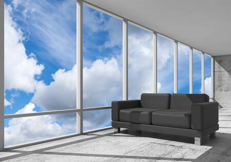 leather sofa: Abstract interior, office room with concrete floor, window and black leather sofa, 3d illustration with blue cloudy sky on a background