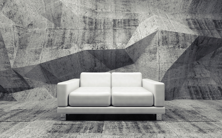 leather sofa: Abstract interior, concrete room with white leather sofa, 3d illustration