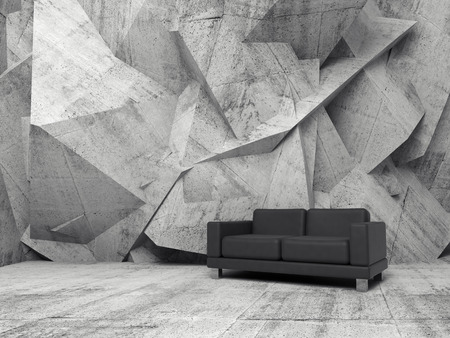 sofa: Abstract interior, concrete office room with chaotic relief pattern on the wall and black leather sofa, 3d illustration Stock Photo