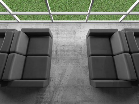 green office: Abstract interior, concrete office room fragment with windows and black leather sofas, green grass grow outside. 3d illustration Stock Photo