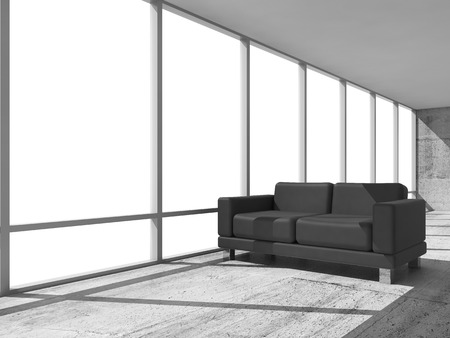 leather sofa: Abstract interior, office room with concrete floor, white window and black leather sofa, 3d illustration