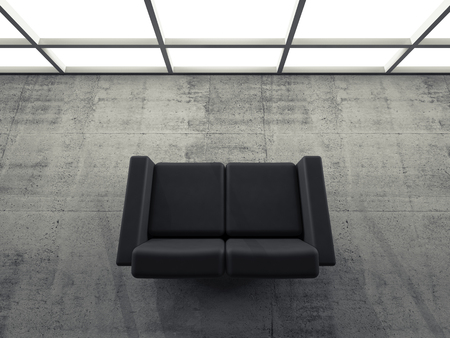 leather sofa: Abstract interior, concrete office room with window and black leather sofa, 3d illustration
