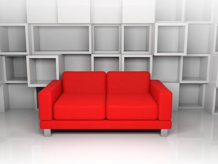 leather sofa: Abstract interior, room with white cubic shelves decoration on the wall and red leather sofa, 3d illustration