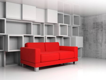 Abstract interior, room fragment with white cubic shelves decoration on the wall and red leather sofa, 3d illustration illustration