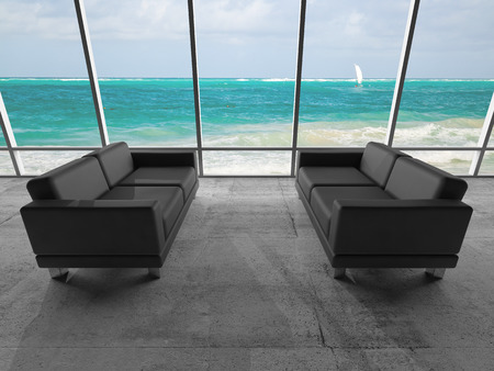 Abstract interior, room with concrete floor, window and two black leather sofas, 3d illustration with ocean coastal landscape on a background illustration