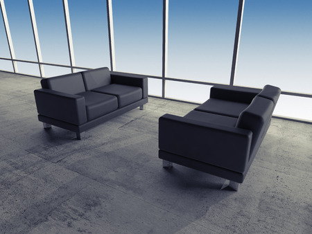 Abstract interior, office room with concrete floor, two black leather sofas near window, 3d illustration illustration