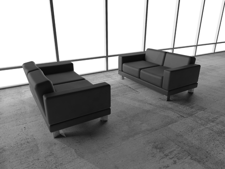 Abstract interior, office room with concrete floor, white window and two black leather sofas, 3d illustration illustration