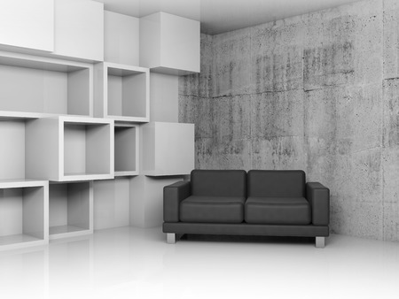 leather sofa: Abstract interior, concrete office room with white cubic relief decoration on the wall and black leather sofa, 3d illustration
