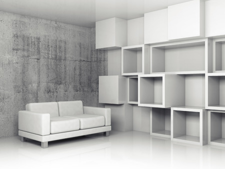 Abstract interior, concrete office room with white cubic relief decoration on the wall and black leather sofa, 3d illustration illustration
