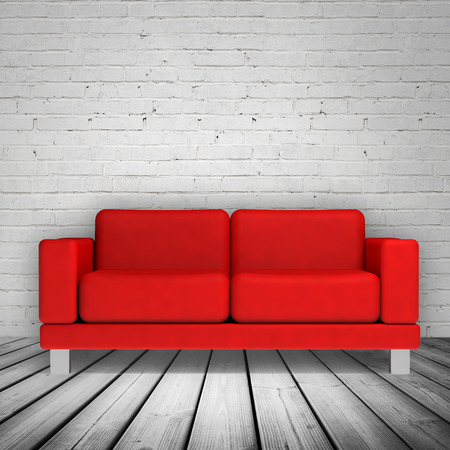 red brick: Abstract white interior with wooden floor, brick wall and red leather sofa, 3d illustration