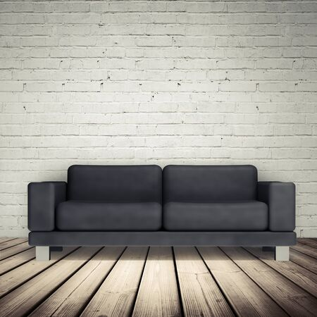 leather sofa: Abstract white interior with wooden floor, brick wall and black leather sofa, 3d illustration Stock Photo