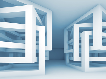 empty interior: Abstract empty interior with chaotic braced cube constructions, 3d illustration Stock Photo
