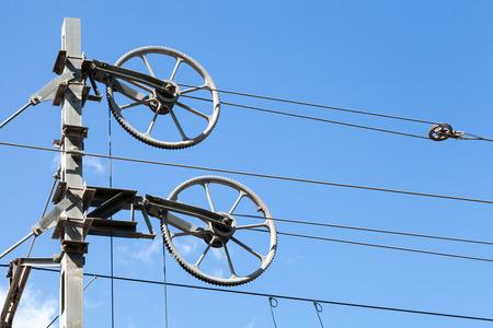 polea: Bloques de ruedas para tensar cables de catenaria ferroviaria, tensar los engranajes de poleas