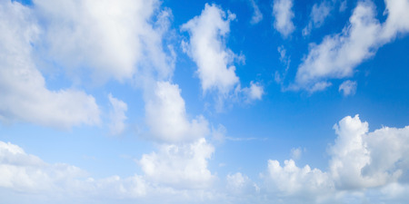 panoramic nature: Blue sky with white clouds, abstract panoramic nature photo background Stock Photo