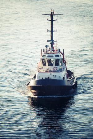 tonal: Tug boat underway, front view, tonal correction filter, retro style