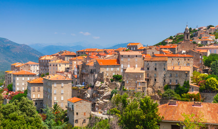 corsica: Ancient town landscape. Sartene, South Corsica, France Stock Photo