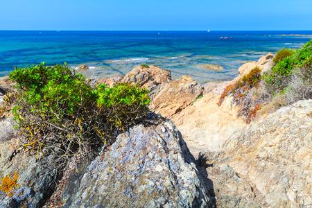Coastal landscape with rocky wild beach, Corsica island, France. Plage De Capo Di Feno Banco de Imagens