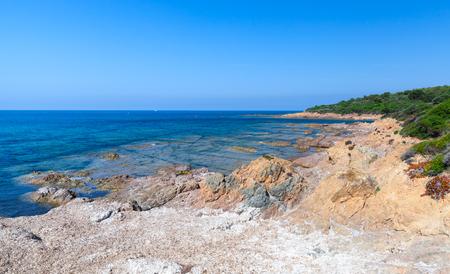 Coastal landscape with empty wild beach, Corsica island, France. Plage De Capo Di Feno